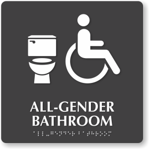 Bathroom sign with the symbols for toliet and a person using a wheelchair. The text and brail read All-Gender Bathroom