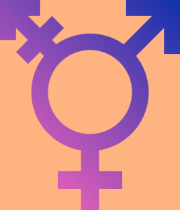 Transgender symbol (woman, man, and combined women+man symbols on one circle)in blue and purple